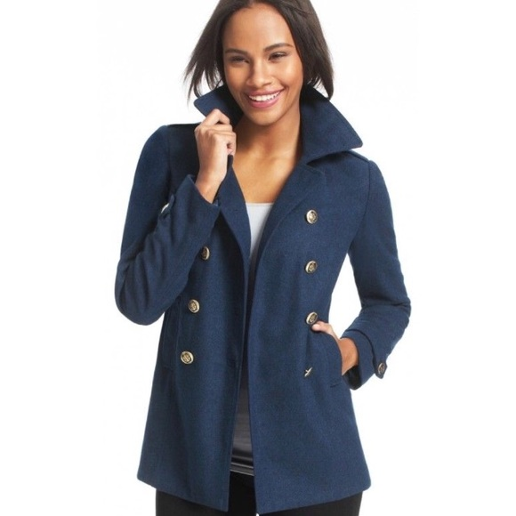 CAbi Prep School Peacoat in Navy  Anchor buttons